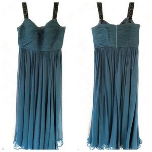 Rickie Freeman Teri Jon Silk Maxi Dress Beaded